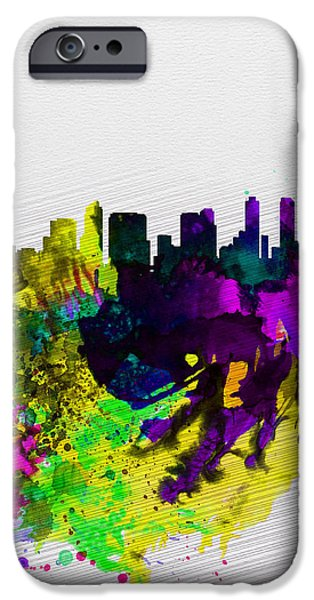 San Diego iPhone Cases -  San Diego Watercolor Skyline iPhone Case by Naxart Studio