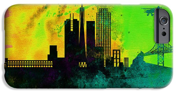 Horizon Paintings iPhone Cases -  San Francisco City Skyline iPhone Case by Naxart Studio