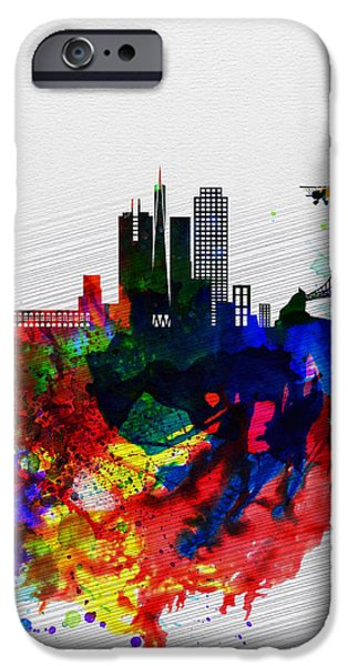 Romantic Digital iPhone Cases -  San Francisco Watercolor Skyline 1 iPhone Case by Naxart Studio