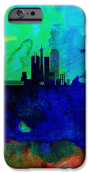 Romantic Digital iPhone Cases -  San Francisco Watercolor Skyline 2 iPhone Case by Naxart Studio