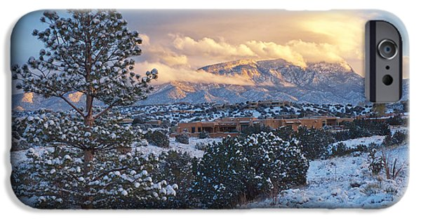 Front Range iPhone Cases -  Sandia Mountains with Snow at Sunset iPhone Case by Mary Lee Dereske