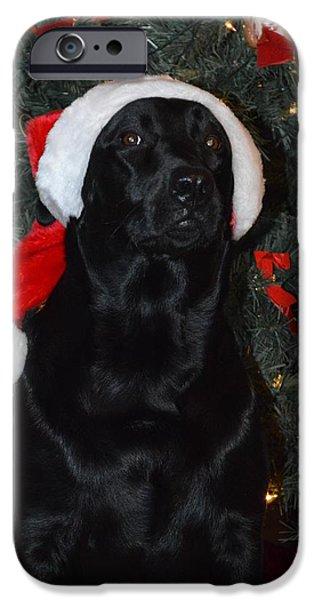 Puppy Digital iPhone Cases -  Santas Helper iPhone Case by Tina Gyselinck