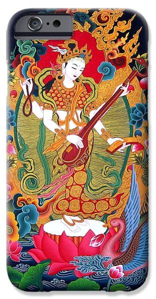 Best Sellers -  - Tibetan Buddhism iPhone Cases -  Saraswati 3 iPhone Case by Lanjee Chee