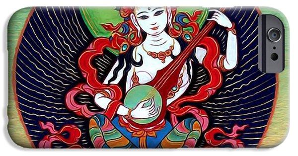 Tibetan Buddhism iPhone Cases -  Saraswati 6 iPhone Case by Lanjee Chee
