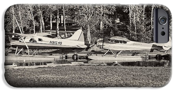 Airplanes Photographs iPhone Cases -  Seaplanes on Moosehead Lake in Maine iPhone Case by Keith Webber Jr