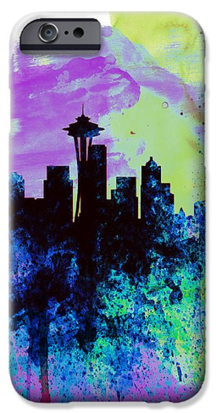 Seattle iPhone Cases -  Seattle Watercolor Skyline 1 iPhone Case by Naxart Studio