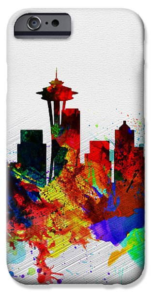 Seattle iPhone Cases -  Seattle Watercolor Skyline 2 iPhone Case by Naxart Studio