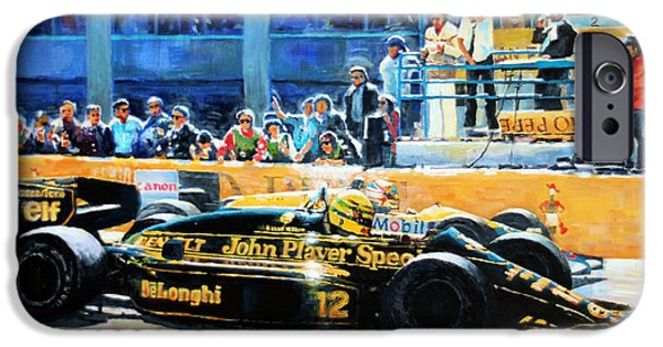 Classic Racing Car iPhone Cases -  Senna vs Mansell F1 Spanish GP 1986 iPhone Case by Yuriy Shevchuk