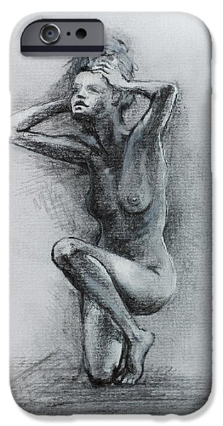 Drawn iPhone Cases -  Sketch Of Nude Woman iPhone Case by Dorina  Costras