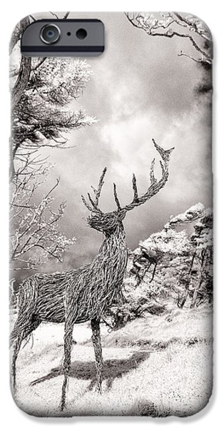 Infrared iPhone Cases -  Stag Sculpture Isle of Mull iPhone Case by Janet Burdon
