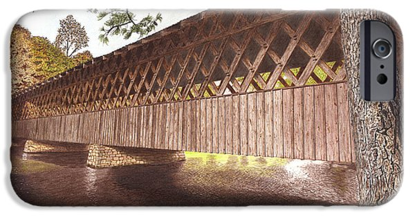 Covered Bridge Mixed Media iPhone Cases -  Stone Mountain Covered Bridge iPhone Case by Cloud Farrow