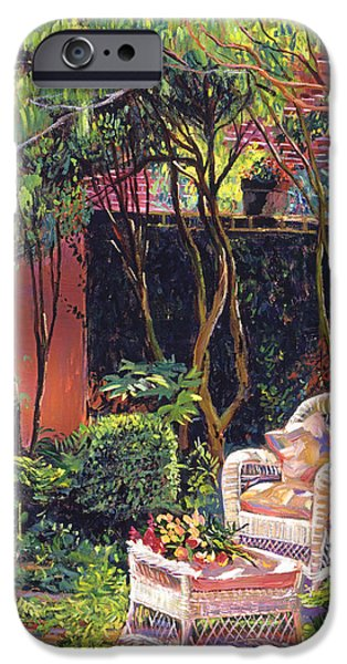 Terra Paintings iPhone Cases -  Sunny Summer Patio iPhone Case by David Lloyd Glover