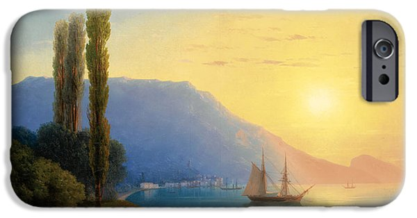Water Vessels Paintings iPhone Cases -  Sunset over Yalta iPhone Case by Ivan Konstantinovich Aivazovsky