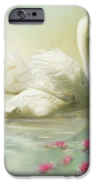 Swans... iPhone Cases -  Swan Song iPhone Case by Trudi Simmonds