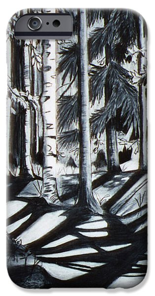 Maine Drawings iPhone Cases -  Take the Maine Path iPhone Case by Stella Sherman