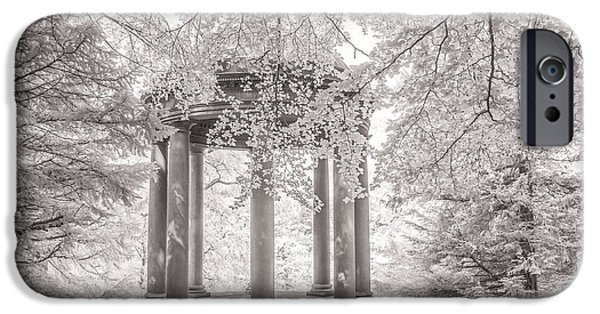 Infrared iPhone Cases -  Temple of Fame Fountains Abbey iPhone Case by Janet Burdon