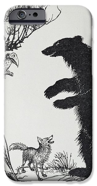 Fable iPhone Cases -  The Bear and the Fox iPhone Case by Arthur Rackham