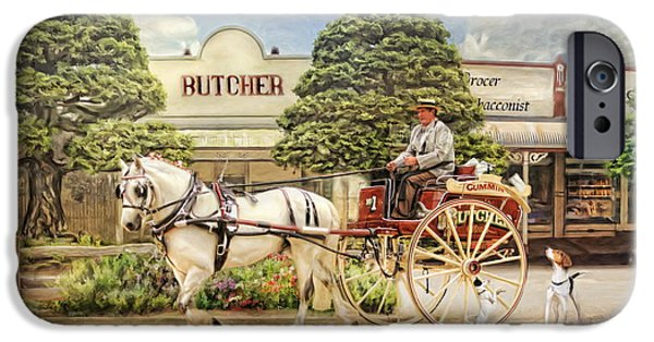 Horse And Cart Mixed Media iPhone Cases -  The Butchers Cart iPhone Case by Trudi Simmonds