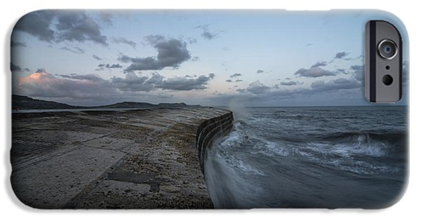 Sea Moon Full Moon iPhone Cases -  The Cobb at Lyme Regis  iPhone Case by Rob Hawkins
