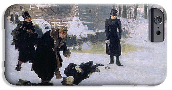 Top Hat iPhone Cases -  The Duel iPhone Case by Ilya Efimovich Repin