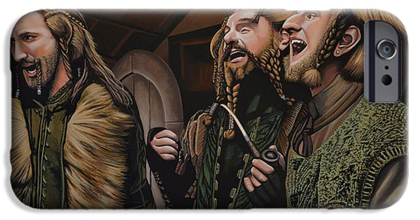 Cinema Paintings iPhone Cases -  The Hobbit and the Dwarves iPhone Case by Paul  Meijering