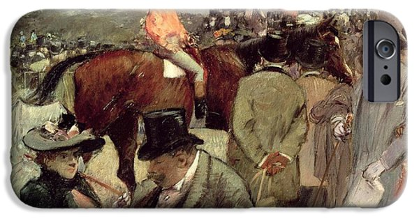 Horse Racing iPhone Cases -  The Horse Race iPhone Case by Jean Louis Forain