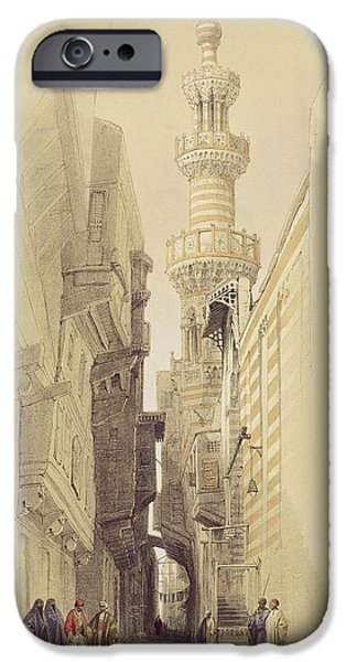The Minaret of the Mosque of El Rhamree iPhone Case by David Roberts