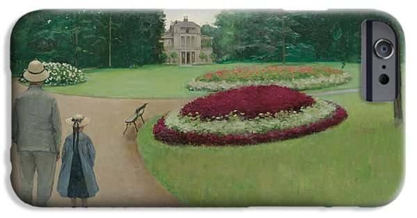 Pleasure Paintings iPhone Cases -  The Park of the Caillebotte Property at Yerres iPhone Case by Gustave Caillebotte