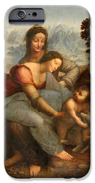 Jesus With Children iPhone Cases -  The Virgin and Child with St. Anne iPhone Case by Leonardo Da Vinci