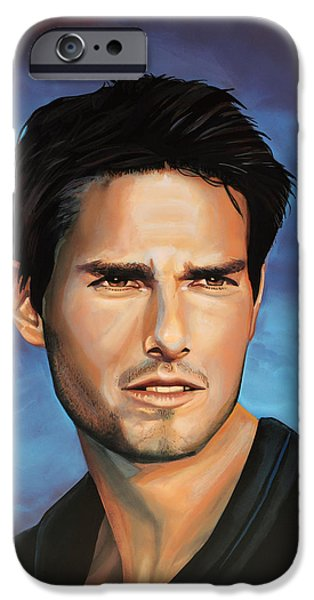 Celebrities Art iPhone Cases -  Tom Cruise iPhone Case by Paul  Meijering