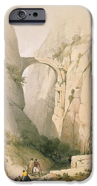 Remnant iPhone Cases -  Triumphal Arch crossing the Ravine leading to Petra iPhone Case by David Roberts