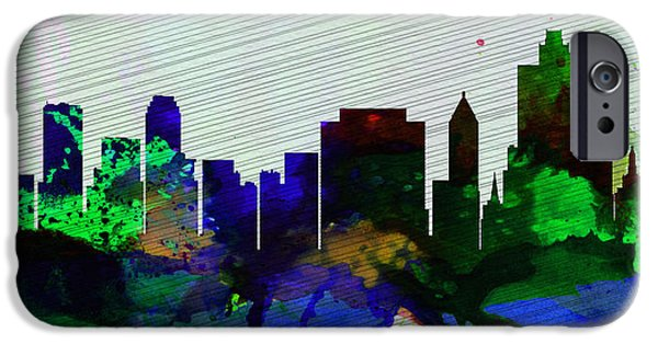 Usa Paintings iPhone Cases -  Tulsa City Skyline iPhone Case by Naxart Studio