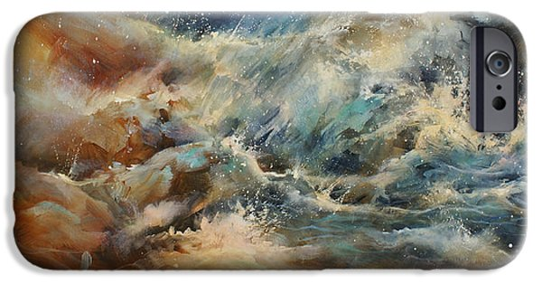 Storms Paintings iPhone Cases -  Turmoil  iPhone Case by Michael Lang