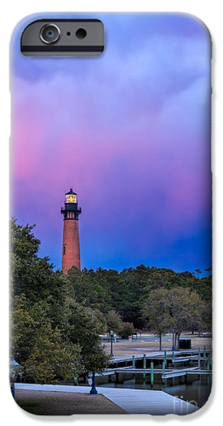 Lighthouse Pyrography iPhone Cases -  Twilight Light iPhone Case by Dan Waters