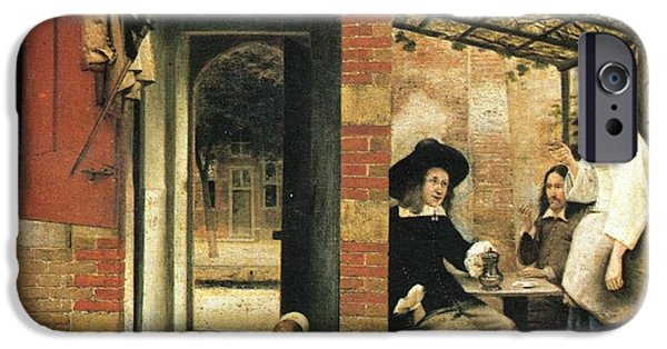 Domestic Scene iPhone Cases -  Two carousing men and a woman under a gazebo in the yard iPhone Case by Pieter de Hooch
