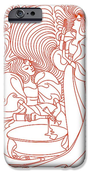 Wine Deco Art iPhone Cases -  Two Woman With Bottle Of Wine  iPhone Case by Igor Kislev