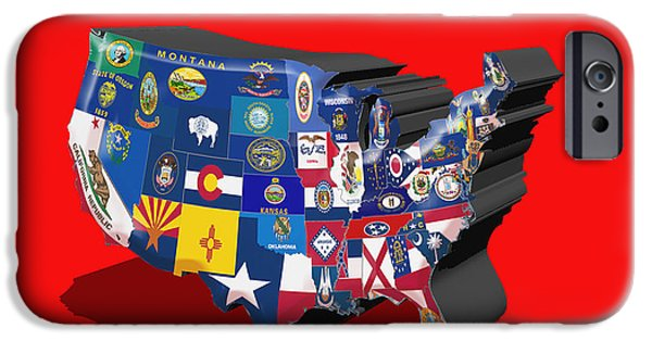 Massachusetts State Flag Digital iPhone Cases -  USA State Flags Red iPhone Case by Brian Reaves