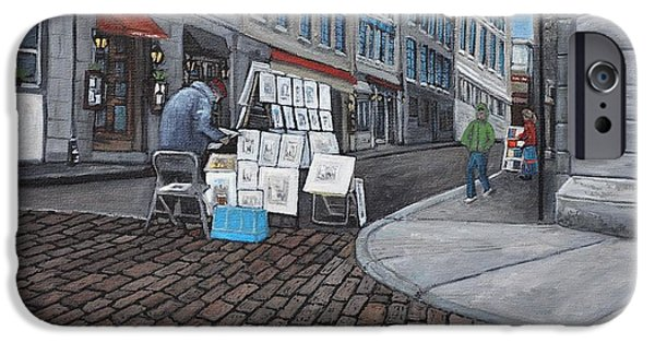 Montreal Streets Paintings iPhone Cases -  Vendeur Sur La Rue Vieux Montreal iPhone Case by Reb Frost