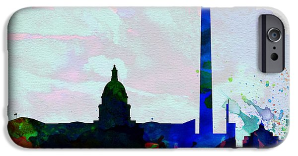 Horizon Paintings iPhone Cases -  Washington DC City Skyline 2 iPhone Case by Naxart Studio