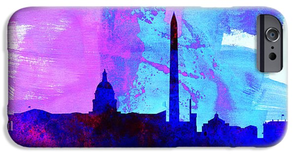 Horizon Paintings iPhone Cases -  Washington DC City Skyline iPhone Case by Naxart Studio