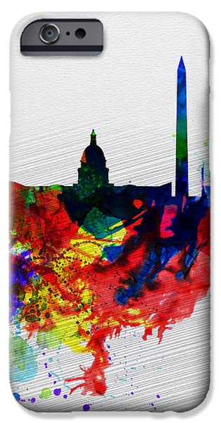 Washington Digital Art iPhone Cases -  Washington DC Watercolor Skyline 1 iPhone Case by Naxart Studio
