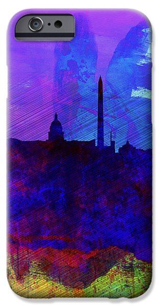 Washington Digital Art iPhone Cases -  Washington DC Watercolor Skyline 2 iPhone Case by Naxart Studio