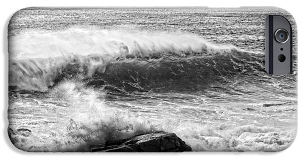 Maine iPhone Cases -  Waves Crashing on Rocks Acadia National Park Photo Print  iPhone Case by Keith Webber Jr