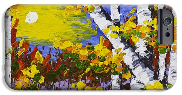 Birch Tree iPhone Cases -  White Birch Trees In Fall Abstract Painting iPhone Case by Keith Webber Jr