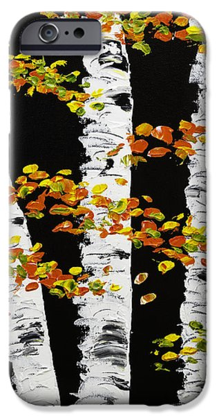 Beautiful Scenery Paintings iPhone Cases -  White Birch Trees In Fall on Black Background Painting iPhone Case by Keith Webber Jr