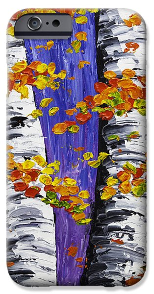 Beautiful Scenery Paintings iPhone Cases -  White Birch Trees In Fall on Purple Background Painting iPhone Case by Keith Webber Jr