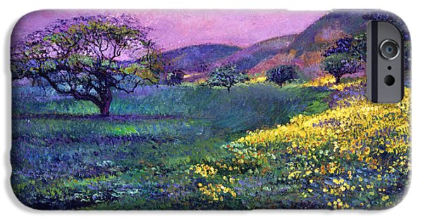 Field. Cloud Paintings iPhone Cases -  Wildflower Fields iPhone Case by David Lloyd Glover
