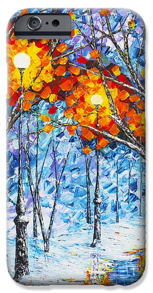 Winter Scene iPhone Cases -  Silence Winter Night Light Reflections original palette knife painting iPhone Case by Georgeta Blanaru