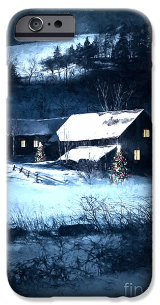 Altered iPhone Cases - Snow scene of a farmhouse at night/ digital painting iPhone Case by Sandra Cunningham