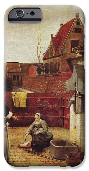 Domestic Scene iPhone Cases -  Woman and Maid in a Courtyard iPhone Case by Pieter de Hooch